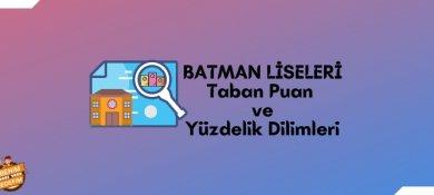 2021 Batman Lise Taban Puanları, Batman Lise Yüzdelik Dilimleri, Batman Liseleri Puanları