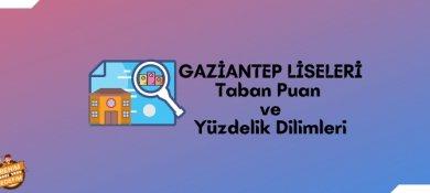 2021 Gaziantep Lise Taban Puanları, Gaziantep Lise Yüzdelik Dilimleri