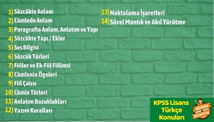 KPSS Lisans Türkçe Konu Dağılımı