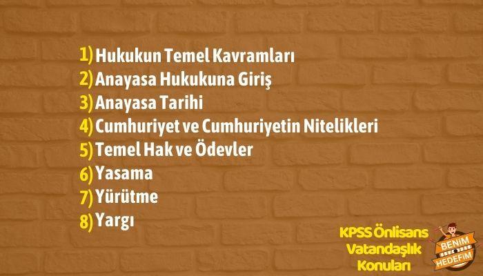 KPSS Önlisans Vatandaşlık Konu Dağılımı,