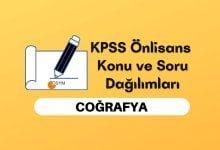 2022 KPSS Önlisans Coğrafya Konuları, Önlisans KPSS Coğrafya Soru Dağılımı