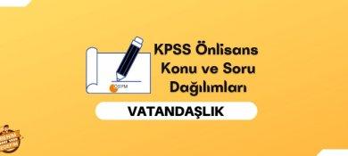 2022 KPSS Önlisans Vatandaşlık Konuları, Önlisans KPSS Vatandaşlık Soru Dağılımı
