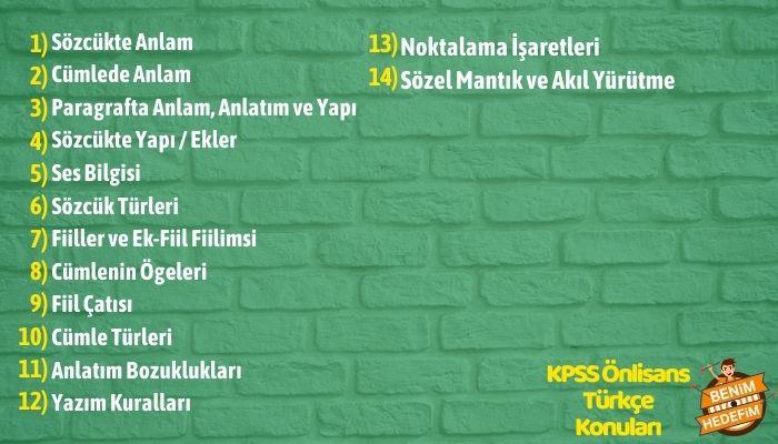KPSS Önlisans Türkçe Konu Dağılımı