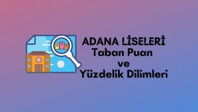 2021 Adana Lise Taban Puanları, Adana Lise Yüzdelik Dilimleri, Adana Liseleri Puanları