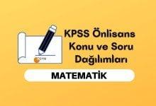 2022 KPSS Önlisans Matematik Konuları, Önlisans KPSS Matematik Soru Dağılımı