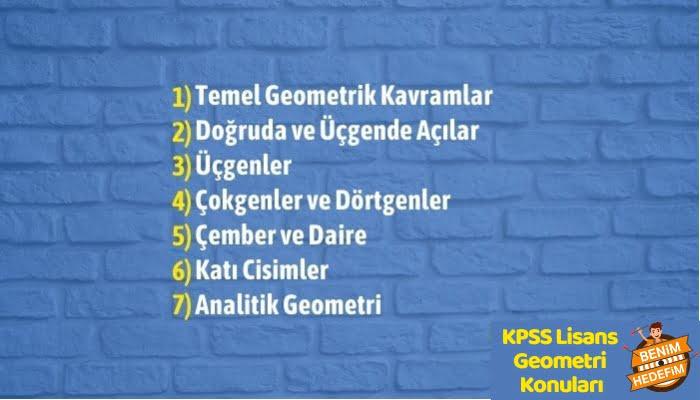 KPSS Lisans Geometri Konu Dağılımı